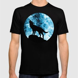 Howling Winter Wolf snowy blue smoke T-shirt