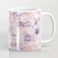 Rose Quartz and Amethyst Stone and Marble Hexagon Tiles Mug