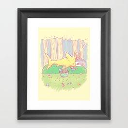 The Easter Bunny Shark Framed Art Print