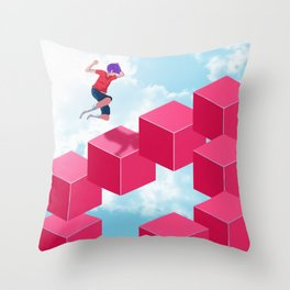 Cube Hopper Throw Pillow