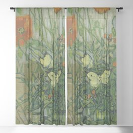 """Vincent Van Gogh """"Butterflies and Poppies"""" Sheer Curtain"""