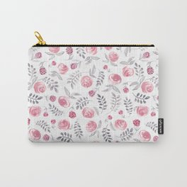 Pink and Grey Florals Carry-All Pouch