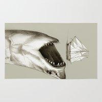 shark Area & Throw Rugs featuring shark by Кaterina Кalinich