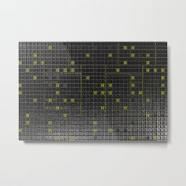 Futuristic industrial brushed metal grate with glowing lines Metal Print