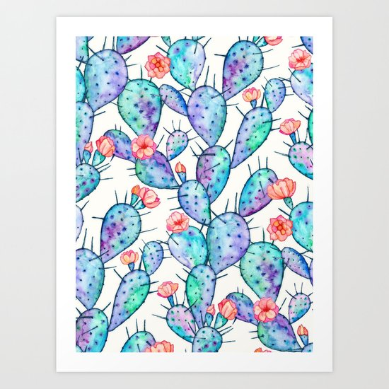 Rainbow Watercolor Cactus Pattern Art Print