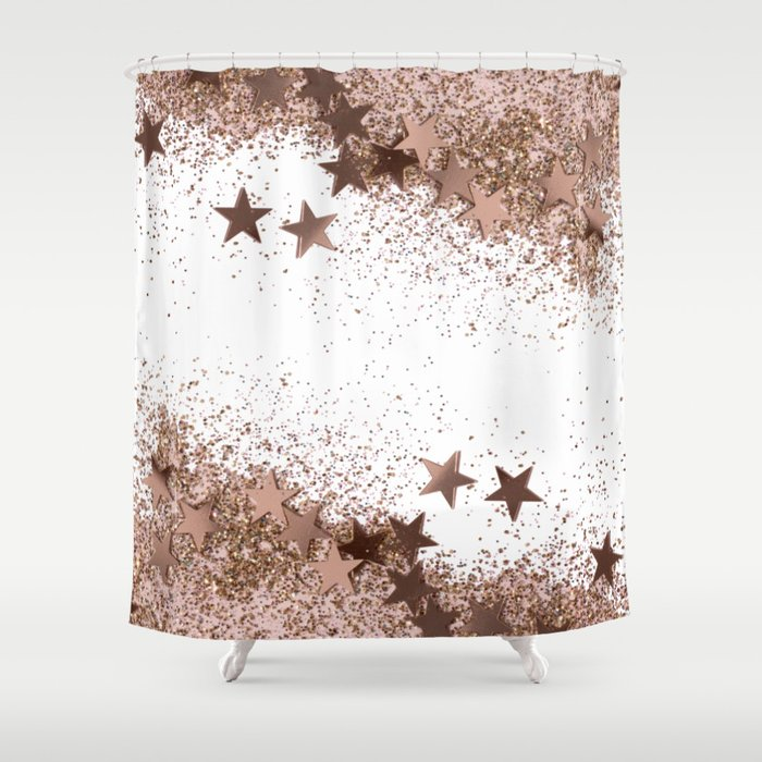 SHAKY STARS ROSEGOLD Shower Curtain