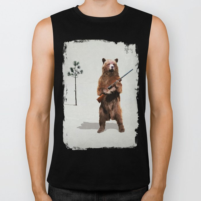 Bear with a shotgun Biker Tank