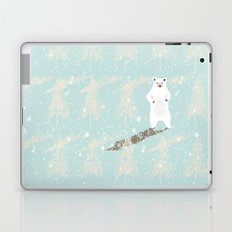 Polar bear in snowy white winter forest -Illustration Laptop & iPad Skin