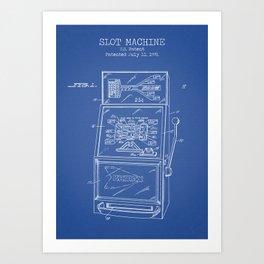 Slot Machine blue patent Art Print