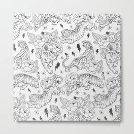 Tigers & Flowers Metal Print