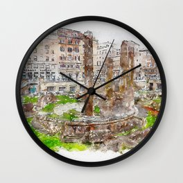 Aquarelle sketch art. Archaeological area of Largo Torre Argentina. Rome. Italy. Wall Clock