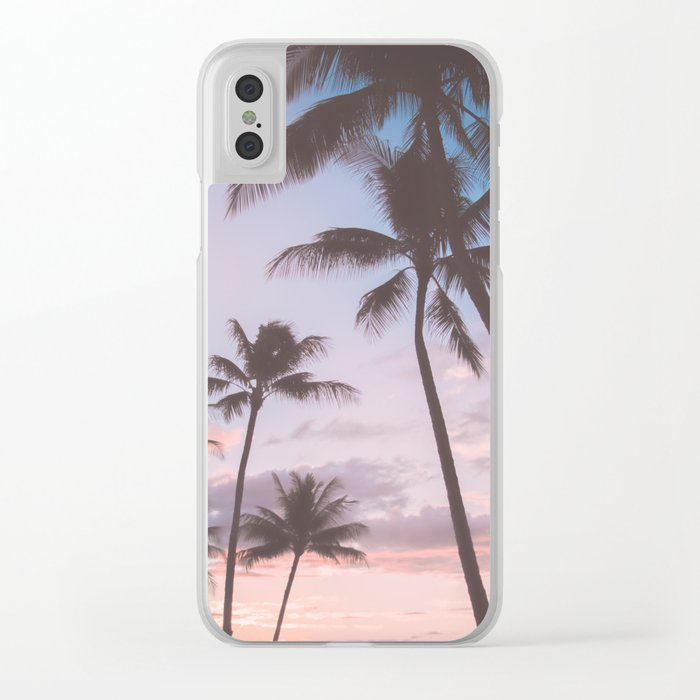 Pastel Palm Trees Clear iPhone Case