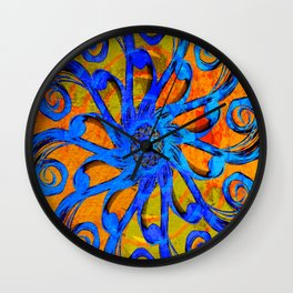 Blue and Orange Swirl Abstract Wall Clock
