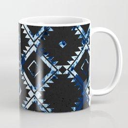 Ethnic Indigo Pattern on Black Coffee Mug