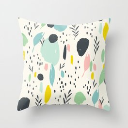 Colourful splotches: modern ink brush strokes with bright colors Throw Pillow