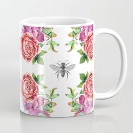 Honey Bee with Floral Watecolor Coffee Mug