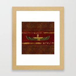 Golden Egyptian God Ornament on red leather Framed Art Print