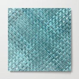 Cute Elegant Teal Turquoise Basket Weave Pattern Metal Print