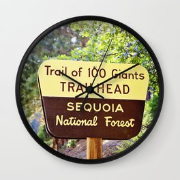 Trail of 100 Giants Vintage National Forest Sign Wall Clock