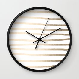 Simply Drawn Stripes in White Gold Sands Wall Clock