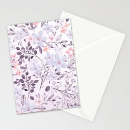 Hand painted modern pink lavender watercolor floral Stationery Cards
