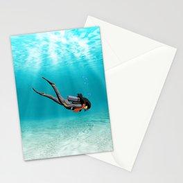 Female S.C.U.B.A. Diver Stationery Cards