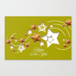 Olive and Umber Happy New Year Shooting Stars  Canvas Print