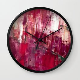 Sunset in the Valley [2]: a colorful abstract piece in reds, pink, gold, gray, and white Wall Clock