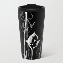Graphic art. White ink and black cardboard. Flowers Travel Mug