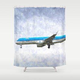 KlM Embraer 190 Art Shower Curtain