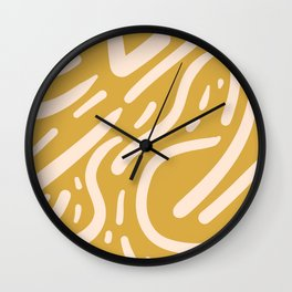 Earthy Mustard Yellow and Light Peach tribal inspired modern pattern Wall Clock