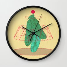 blugreenish circled feathers Wall Clock