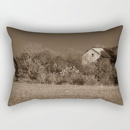 Abandoned Barn In The Trees Monochromatic / Sepia Landscape Photo Rectangular Pillow