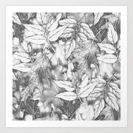 Autumn black white maple leaves bohemian floral pattern Art Print
