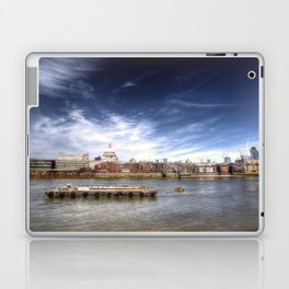 The River Thames and Barge and St Paul's Cathedral Laptop & iPad Skin
