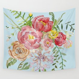 Bouquet of Watercolor on Blue Background Wall Tapestry