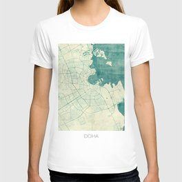 Doha Map Blue Vintage T-shirt
