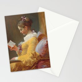 Young Girl Reading Painting by Jean-Honoré Fragonard Stationery Cards