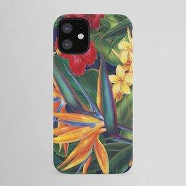 Tropical Paradise Hawaiian Floral Illustration iPhone Case