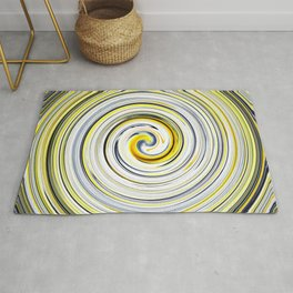 Yellow And Black Funky Swirl Rug