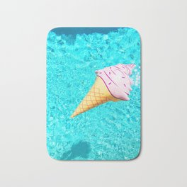 pink ice cream cone float all up in my pool yo Bath Mat