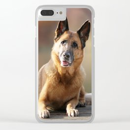 German Shepherd enjoys the Indian Summer Clear iPhone Case