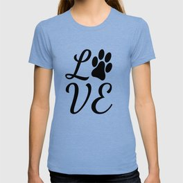 LOVE with a Paw Print replacing the O T-shirt