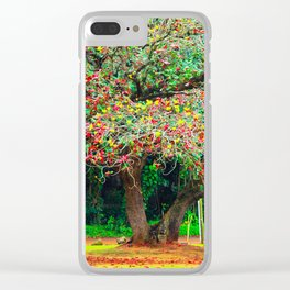 big tree with green yellow and red leaves Clear iPhone Case