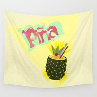 pineapple Wall Tapestries featuring PINEAPPLE by Nika