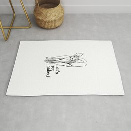 Let's Get Naked - Dead Sphynx Cat in a Flower Wearing a Diamond Heart Necklace - Line Art - Hairless Wrinkly Kitty- Black and White- Joke quote Rug