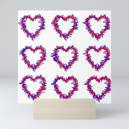 Blue & Red Scribble Heart Pattern Print Mini Art Print