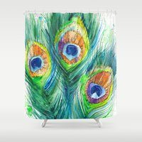 peacock feather Shower Curtains featuring Peacock feather  by Slaveika Aladjova