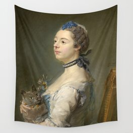 Woman and cat Painting by Jean-Baptiste Perronneau Wall Tapestry