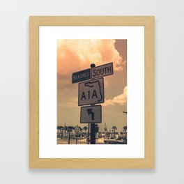 A1A South To The Beaches Framed Art Print
